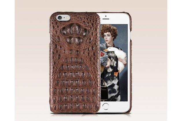 Элитная задняя панель-крышка премиум-класса из тончайшего и прочного пластика обтянутого кожей крокодила для iPhone 6S Plus брутальный коричневый