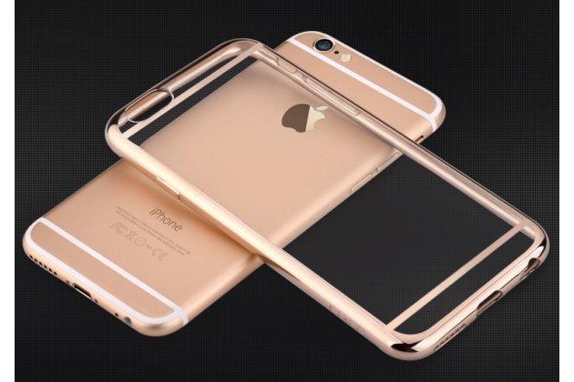 Фирменная задняя полимерная панель-крышка-накладка из ульра-тонкого силикона для iPhone 6S Plus прозрачная с золотой окаёмкой