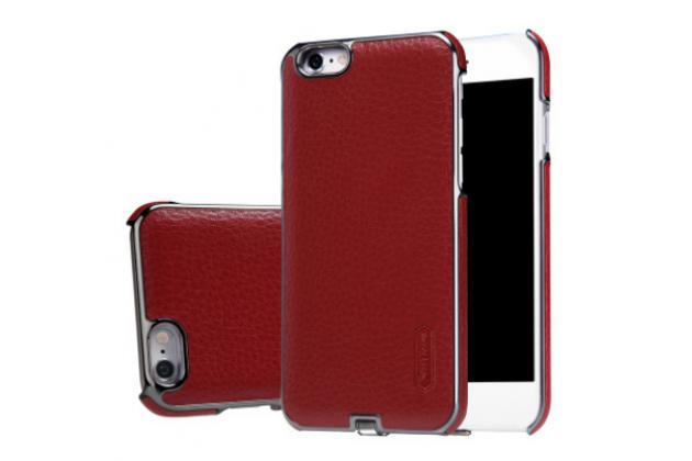 Фирменная роскошная элитная премиальная задняя панель-крышка со встроенным ресивером обтянутая импортной кожей для iPhone 6S Plus королевский красный