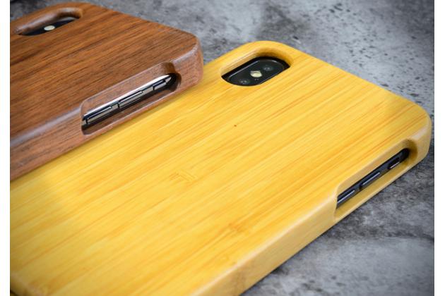 Фирменная оригинальная деревянная из натурального бамбука задняя панель-крышка-накладка для iPhone XR в белом цвете