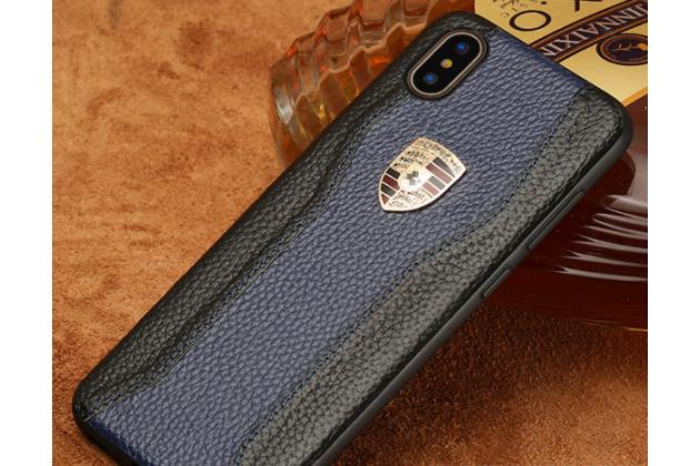 Фирменная роскошная задняя панель-крышка обтянутая импортной кожей для iPhone XR черно-синяя