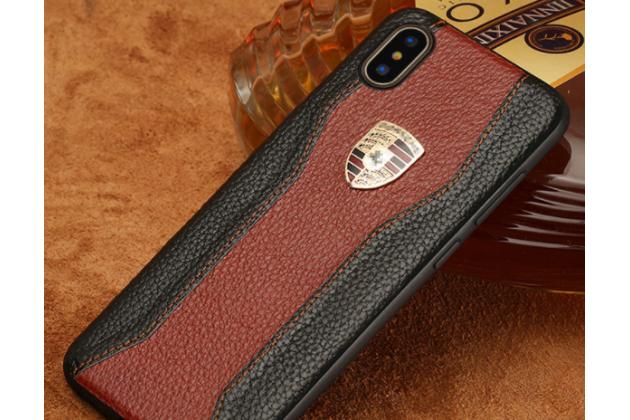 Фирменная роскошная задняя панель-крышка обтянутая импортной кожей для iPhone XR черно-коричневая