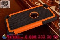 Противоударный усиленный ударопрочный фирменный чехол-бампер-пенал для iPod touch 5 оранжевый