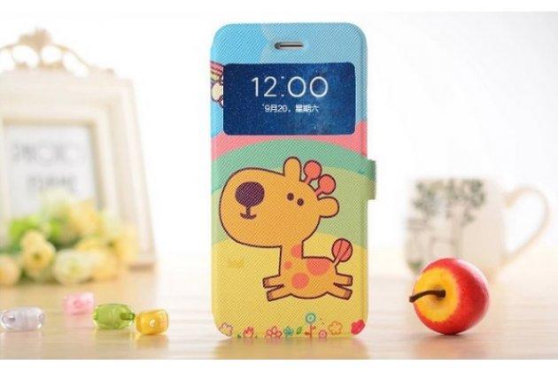 """Фирменный чехол-книжка с безумно красивым расписным рисунком Жирафа в цветах на iPhone 6+ Plus 5.5"""" с окошком для звонков"""