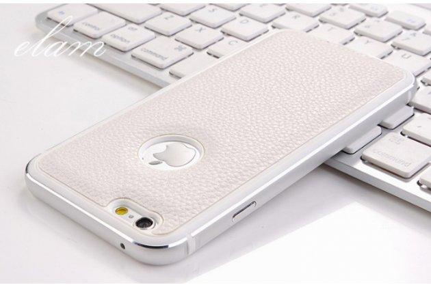 """Фирменная роскошная элитная задняя панель-крышка на металлической основе обтянутая импортной кожей для iPhone 6+ Plus 5.5"""" королевский белый"""