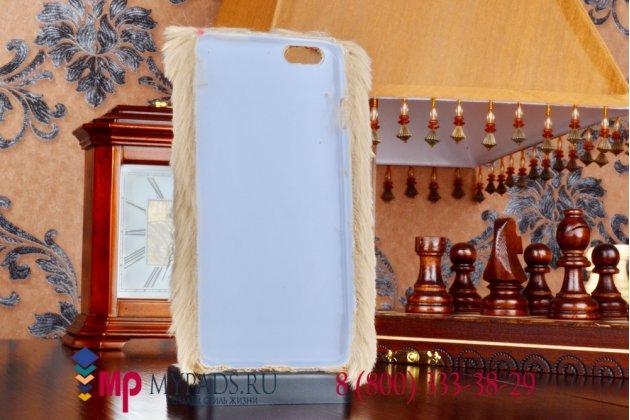 """Меховой пушистый чехол-панель для iPhone 6 plus золотой """"пушистик"""""""
