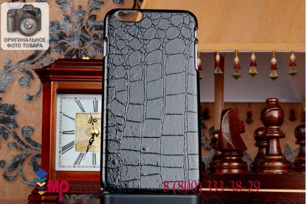 Задняя панель-крышка из тончайшего и прочного пластика для iPhone 6 plus лаковая кожа крокодила черная