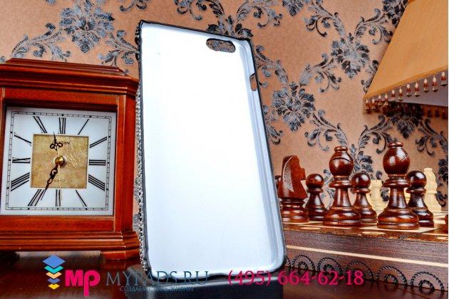 """Задняя панель-крышка-накладка из тончайшего и прочного пластика для iPhone 6 plus """"змеиная кожа"""" черный"""