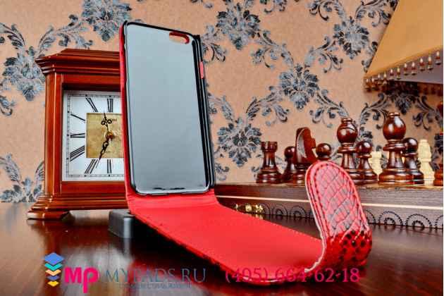 """Вертикальный откидной чехол-флип для iPhone 6S 4.7 """"змеиная кожа"""" красный"""