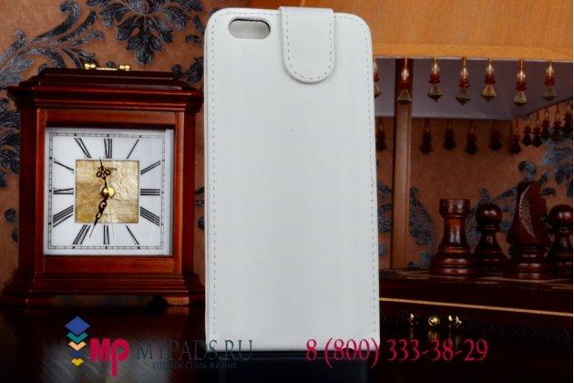 """Вертикальный откидной чехол-флип для iPhone 6 Plus 5.5""""  белый кожаный"""
