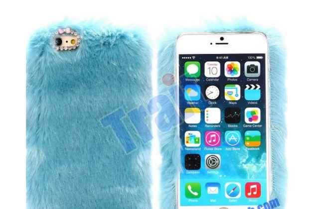 """Меховой пушистый чехол-панель для iPhone 6 plus голубой """"пушистик"""""""