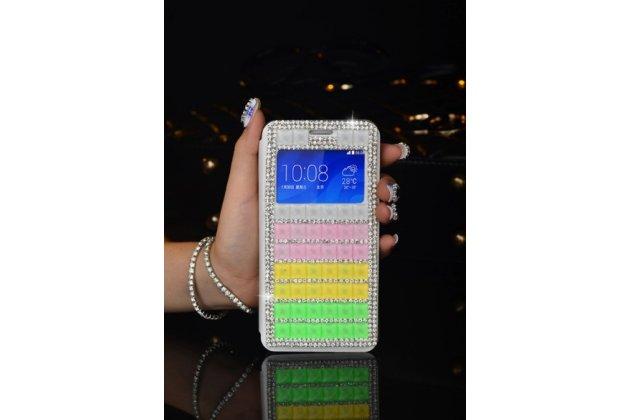 """Фирменный роскошный чехол-книжка с окошком для входящих вызовов безумно красивый декорированный кристаликами на iPhone 6 4.7"""" радужный"""