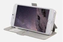 """Фирменный чехол-книжка с безумно красивым расписным рисунком Оленя в цветах на iPhone 6 4.7"""" с окошком для звонков"""