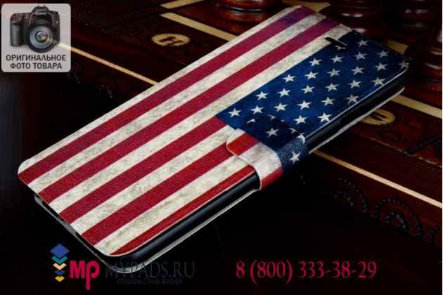 """Необычный эксклюзивный чехол-книжка для iPhone 6S 4.7"""" """"тематика Американский флаг"""""""