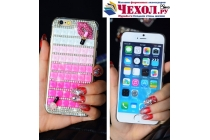 """Фирменная роскошная элитная пластиковая задняя панель-накладка украшенная стразами кристалликами и декорированная элементами для iPhone 6 4.7"""" розовая"""