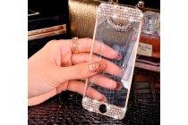 """Фирменное защитное закалённое противоударное стекло премиум-класса украшенное стразами кристалликами из качественного японского материала с олеофобным покрытием для iPhone 6 4.7""""золотое"""