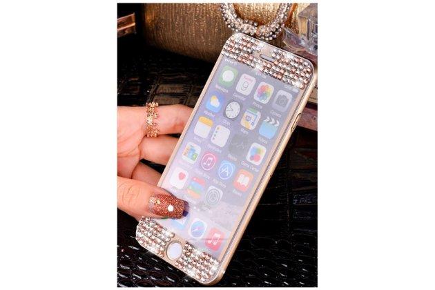 """Фирменное защитное закалённое противоударное стекло премиум-класса украшенное стразами кристалликами из качественного японского материала с олеофобным покрытием для iPhone 6S 4.7""""золотое"""