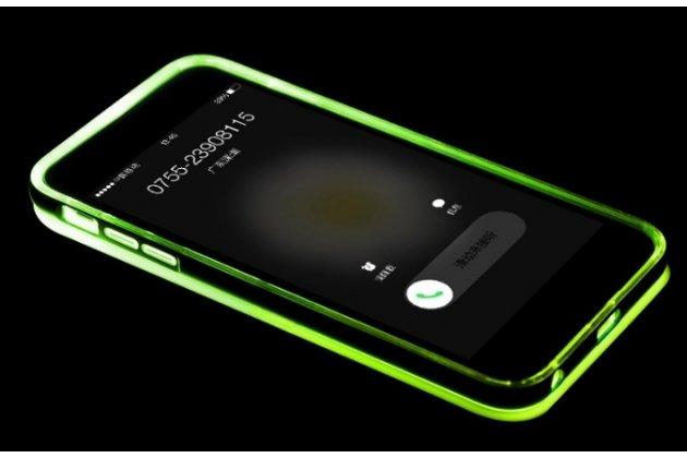 """Фирменная светящаяся / c подсветкой ультра-тонкая полимерная из мягкого качественного силикона задняя панель-чехол-накладка для iPhone 6 4.7"""" зеленого цвета"""