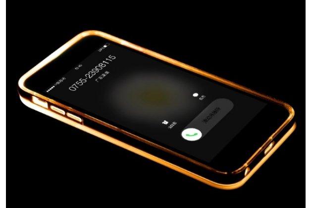 """Фирменная светящаяся / c подсветкой ультра-тонкая полимерная из мягкого качественного силикона задняя панель-чехол-накладка для iPhone 6 4.7"""" золотого цвета"""