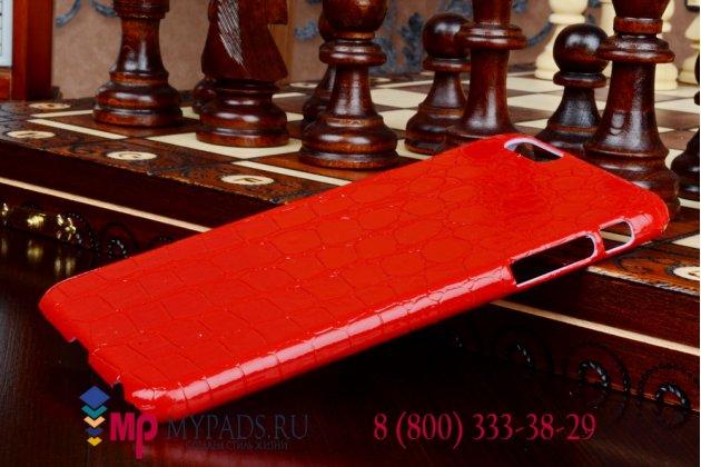 Задняя панель-крышка из тончайшего и прочного пластика для iPhone 6 plus лаковая кожа крокодила красный
