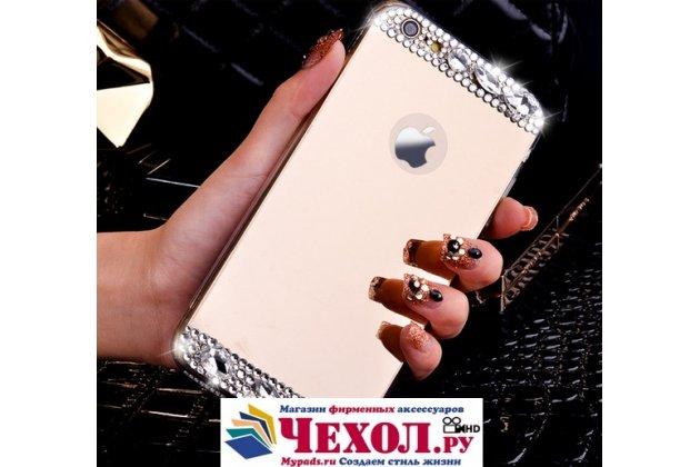 """Фирменная ультра-тонкая полимерная из мягкого качественного силикона задняя панель-чехол-накладка украшенная стразами и кристаликами для iPhone 6 4.7"""" золотая"""