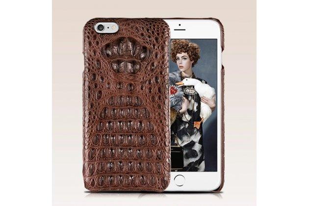 """Элитная задняя панель-крышка премиум-класса из кожи экзотического животного обтянутая натуральной кожей крокодила для iPhone 6 4.7"""" брутальный коричневый"""