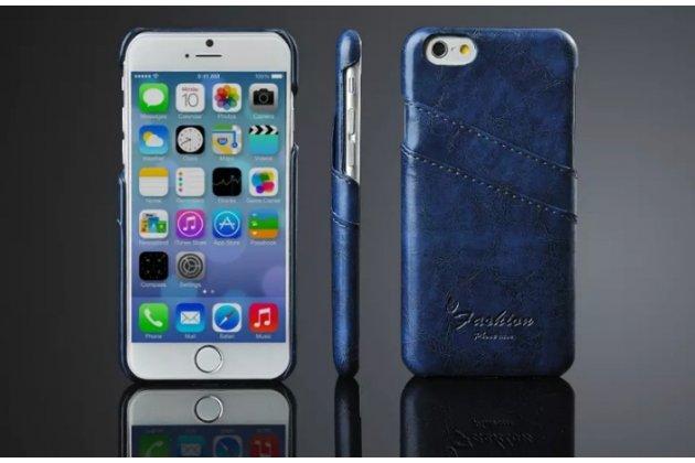 """Фирменная роскошная элитная премиальная задняя панель-крышка для iPhone 6 4.7"""" из качественной кожи буйвола с визитницей синий"""