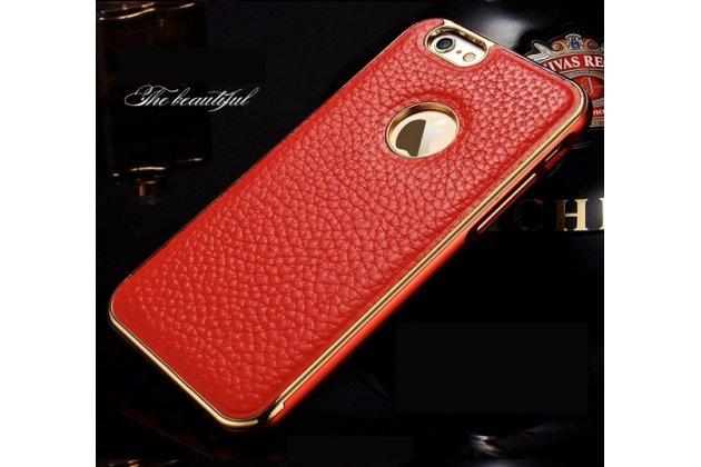"""Фирменная роскошная элитная премиальная задняя панель-крышка на металлической основе обтянутая импортной кожей для iPhone 6 4.7"""" королевский красный"""