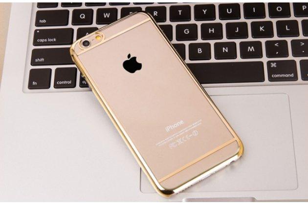 """Фирменная задняя панель-крышка-накладка из тончайшего и прочного пластика для iPhone 6 4.7"""" прозрачная с золотой окаёмкой"""