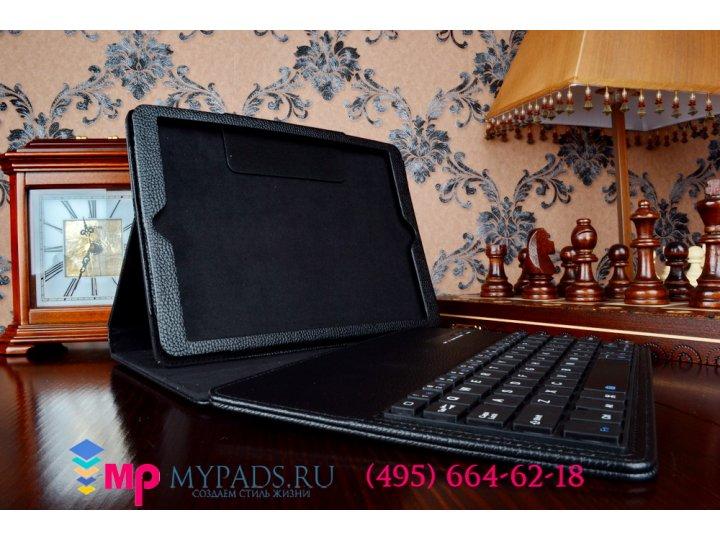 Фирменный чехол со съёмной Bluetooth-клавиатурой для iPad Air 2 черный кожаный + гарантия..