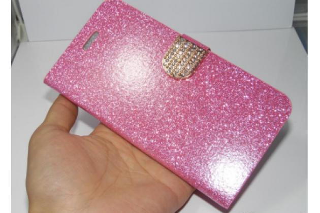 """Фирменный уникальный необычный чехол-книжка с блестками для iPhone 6S """"тематика Розы"""" розового цвета"""