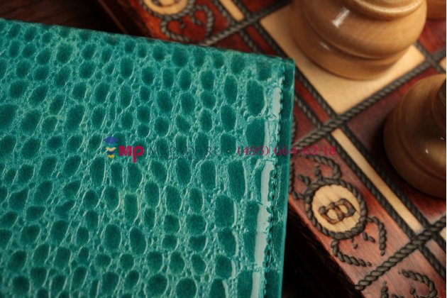 Фирменный чехол с мульти-подставкой для iPad Air 1 лаковая кожа крокодила цвет морского бриза бирюзовый