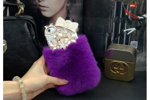 """Чехол-панель с хвостом и ушками для iPhone 6S тематика """"фиолетовый пушистик"""""""