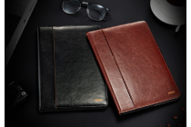 Фирменный чехол бизнес класса для iPad Pro 10.5 с визитницей и держателем для руки черный натуральная кожа Prestige Италия