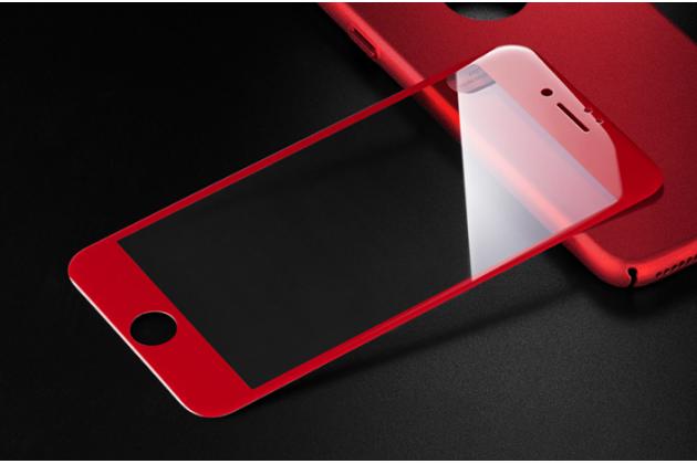 Фирменное 3D защитное изогнутое стекло с закругленными изогнутыми краями которое полностью закрывает экран / дисплей по краям с олеофобным покрытием для iPhone 7 4.7 PRODUCT RED Special Edition