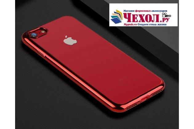 Фирменная ультра-тонкая полимерная из мягкого качественного силикона задняя панель-чехол-накладка для iPhone 7 4.7 PRODUCT RED Special Edition / iPhone 8 прозрачная с красной окаёмкой