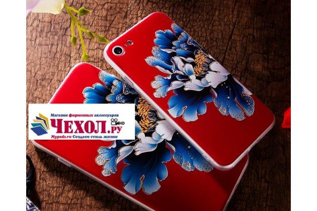 """Фирменная необычная из легчайшего и тончайшего пластика задняя панель-чехол-накладка для iPhone 7 4.7 PRODUCT RED Special Edition тематика """"Синий цветок"""""""