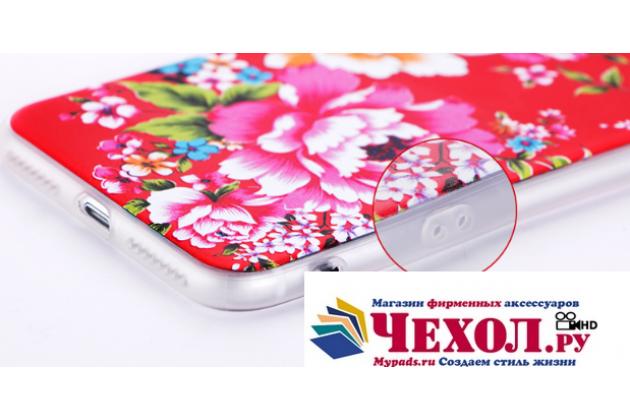 """Фирменная необычная из легчайшего и тончайшего пластика задняя панель-чехол-накладка для iPhone 7 4.7 PRODUCT RED Special Edition тематика тематика """"Цветы"""""""