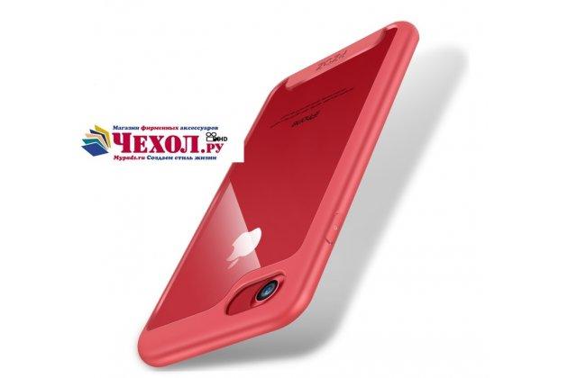 Фирменный ультра-тонкий силиконовый чехол-бампер для iPhone 7 4.7 PRODUCT RED Special Edition с закаленным стеклом на заднюю крышку телефона красный