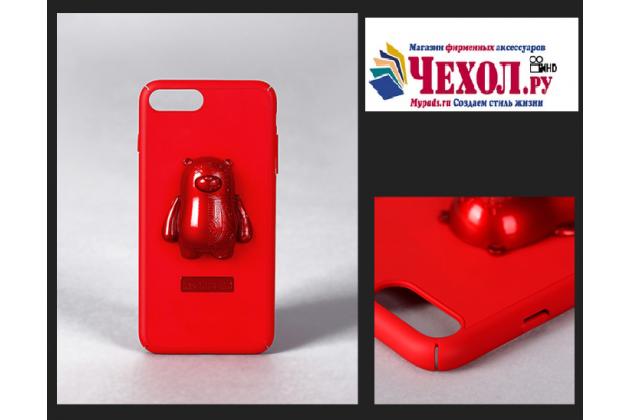 Фирменная необычная из легчайшего и тончайшего пластика задняя панель-чехол-накладка с объёмным 3D изображением Медведя для iPhone 7 4.7 PRODUCT RED Special Edition / iPhone 8 красная