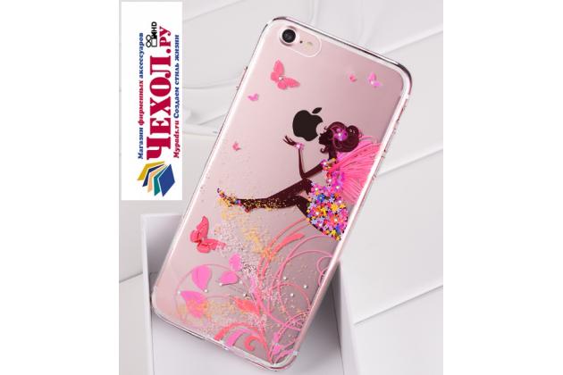 Фирменная задняя панель-чехол-накладка из прозрачного 3D  силикона с объёмным рисунком для iPhone 7 4.7 PRODUCT RED Special Edition  тематика Сказочная фея которая огибает логотип чтобы была видна марка телефона