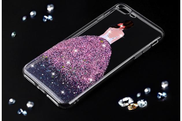 Фирменная задняя панель-чехол-накладка из прозрачного 3D  силикона с объёмным рисунком для iPhone 7 4.7 PRODUCT RED Special Edition  тематика Блестящее платье которая огибает логотип чтобы была видна марка телефона