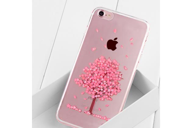 Фирменная задняя панель-чехол-накладка из прозрачного 3D  силикона с объёмным рисунком для iPhone 7 4.7 PRODUCT RED Special Edition / iPhone 8 тематика Цветущее дерево которая огибает логотип чтобы была видна марка телефона