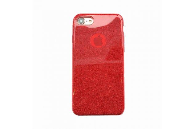 Фирменная задняя панель-крышка-накладка из тончайшего и прочного пластика для iPhone 7 4.7 PRODUCT RED Special Edition красная с блестками