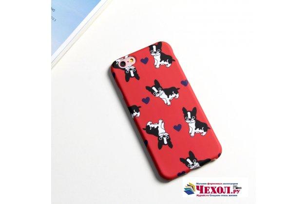 """Фирменная уникальная задняя панель-крышка-накладка из тончайшего силикона для iPhone 7 4.7 PRODUCT RED Special Edition с объёмным 3D рисунком тематика """"Французский бульдог"""""""