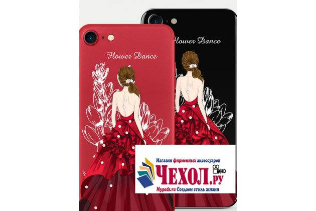 """Фирменная роскошная задняя панель-чехол-накладка  из мягкого силикона с безумно красивым расписным 3D рисунком на iPhone 7 4.7 PRODUCT RED Special Edition """"Красное платье"""""""