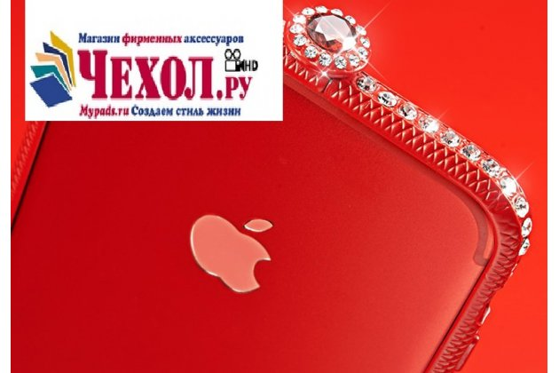 Фирменная металлическая задняя панель-крышка-накладка из облегченного авиационного алюминия украшенная стразами и кристалликами для iPhone 7 4.7 PRODUCT RED Special Edition / iPhone 8 с закаленным стеклом  красная