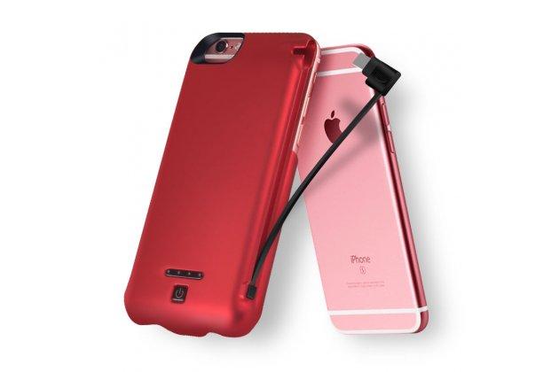 Чехол-бампер со встроенной усиленной мощной батарей-аккумулятором большой повышенной расширенной ёмкости 5000mAh для iPhone 7 4.7 PRODUCT RED Special Edition / iPhone 8 с возможностью подзарядки другого телефона красный + гарантия
