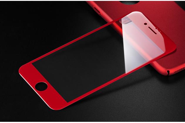 Фирменное 3D защитное изогнутое стекло с закругленными изогнутыми краями которое полностью закрывает экран / дисплей по краям с олеофобным покрытием для iPhone 7 Plus   5.5 PRODUCT RED Special Edition