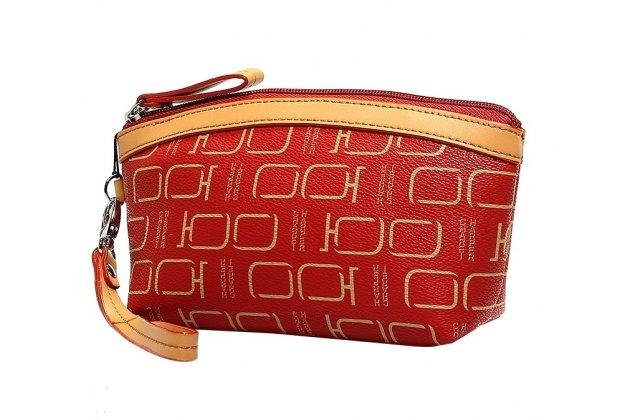 Фирменный чехол-сумка-клатч-косметичка из качественной импортной кожи с отделением для дополнительных аксессуаров для iPhone 7 Plus + 5.5 PRODUCT RED Special Edition красный